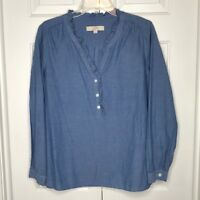 Ann Taylor Loft Blue Ruffle Neckline Oversized Long Sleeve Blouse Womens Medium