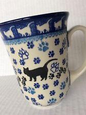 NEW C.A. Polish Pottery 16 oz Bistro Mug-Black Cat