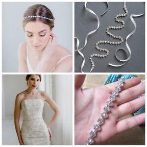 Thin Crystal Wedding Belt Rhinestone Bridal Sash Hair Vine Headband Headdress