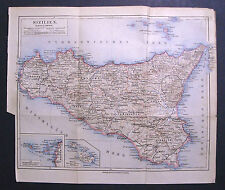 Antica Stampa Topografica= SICILIA-MALTA-EGADI-EOLIE =1909.Scala1:1100000 Meyer
