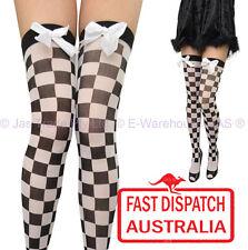 Fancy Dress Tights Thigh High Stockings Car Racing Flag Bow BLACK WHITE CHECK