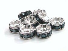 15 X 8 Mm Plateado Plata Piedra Negra espaciador granos Artesanales cuentas de joyería I162