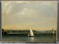 Marina Sailboats Seascape Oil Painting sign. Frederick DeBourg Richards American