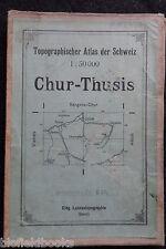 Vintage plegable Mapa de Chur-Thusis (Suiza/Suiza) 1921-Europa/Disecado