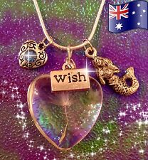 Mermaid Wish Magic Solid Glass Heart Flora Pendant 925 Sterling Silver Necklace