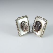 Cameo Cuff Links Mother of Pearl MOP Marcasite Silver Cufflinks 1940s 1930s Mens