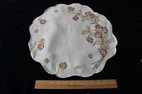 "Antique Society Silk Hand Emb Strawberries On 15"" Linen Round c1910~French Knots"