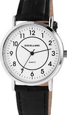 Herren Armbanduhr Weiss/Silber/Schwarz Kunstlederarmband von Excellanc