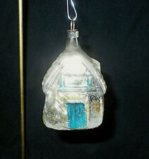 "Ant. German Cabin In The Woods Mercury Glass Christmas Ornament~2 3/4"" H"