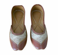 Women Shoes Indian Handmade Mojari Brown Leather Loafers Jutti UK 3-5 EU 35.5-38