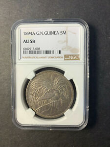 German New Guinea 5 mark 1894 Bird of paradise almost uncirculated NGC AU58