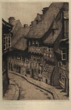 GOSLAR: Peterstraße, Radierung von E. von Martens