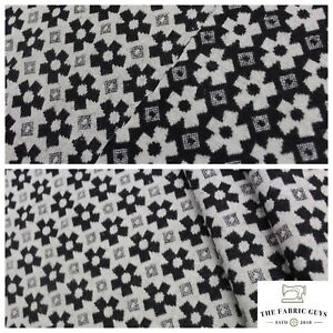 """Premium Wool, Black & White Geometric Floral, Double Sided Pattern,Polywool, 60"""""""