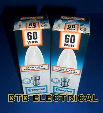 2 X 60 Watt Opal Candle Light Bulbs SBC. Crompton B15d Small Bayonet Cap