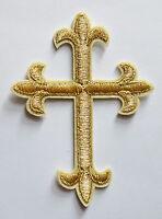 Gold Religious Fleur De Lis Cross Iron On Embroidered Applique Patch Christ