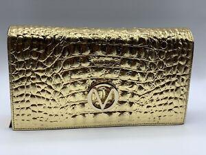 NEW VALENTINIO By Mario Valentino LENA Gold Croc Leather Clutch Crossbody Purse