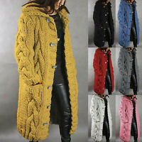 Womens Chunky Knit Sweater Open Front Winter Coat Long Cardigan Coat Tops Jacket