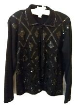 Arriviste black sweater with black sequins embellishments elegant