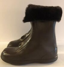 Mid Century Kids 13 Brown Rubber Boots Faux Fur Galoshes USA Zip Closure Vintage