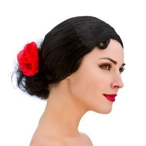 Black Spanish Senorita Wig Short With Bun + Flower Ladies Fancy Dress