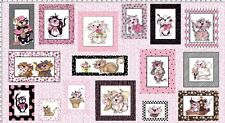 Cats Loralie Fancy Cats Cotton Quilting Fabric Panel