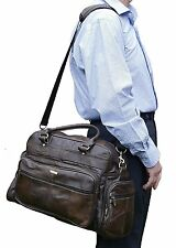 NEW GENUINE LEATHER UNISEX HOLDALL TRAVEL GYM SPORTS FLIGHT CABIN BAG 3806-BROWN