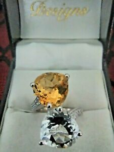 Citrine and White Topaz Bypass Ring in Platinum Over Sterling Sz 7 - 13.48 ctw