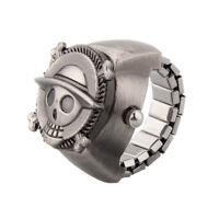 Vintage nette Schaedel Piraten Metall Taschen-Finger-Ring-Uhr