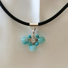 HANDMADE AMAZONITE AND HOWLITE  BEADS PENDANT STERLING SILVER BLACK RUBBER NEW