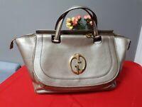 GUCCI Large Gold Metallic leather 1973 GG Handbag Top Handle Tote Bag