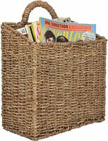 MyGift Woven Hanging Wall Mounted Basket Rustic Home Décor - Large