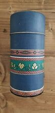 """New listing N K Storage Tea Spice Tin Container with Seal and Lid Leaf Denim Look 6.75"""" Tall"""