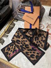 NEW LOUIS VUITTON BANDEAU LEO MARRON 100% Silk LEOPARD Scarf Bandeau + RECEIPT