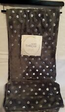 Gray with Metallic Dots Plush Throw Blanket Shabby Chic NEW