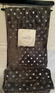 Gray with Metallic Dots Plush Throw Blanket Shabby Chic NEW