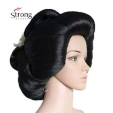 Natural Black Japanese Geisha Flaxen Hair Synthetic Daily Cosplay Wig Full Wigs