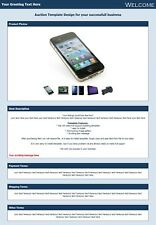 Ebay listing template , HTML 5 Template, eBay Auction Template, beautiful blue
