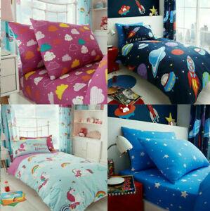 KIDS CHILDREN Duvet Cover Quilt Easy Care Bedding Set Fitted sheet Boys Girls