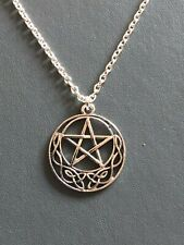 """CELTIC MOON PENTAGRAM NECKLACE PENDANT Gothic Wicca Pagan18"""" Silver Plated Chain"""