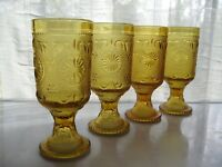 Brockway Glass 4 Amber American Concord Sandwich 10 ounce Water Goblets