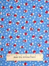 Polar Bear Christmas Fabric 100% Cotton 1.8 Yards Snowflake Holiday Toss Blue