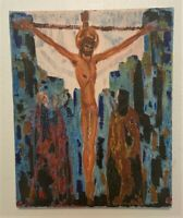 Vintage Signed Original Religious Oil on Canvas Painting - Crucifixion of Christ