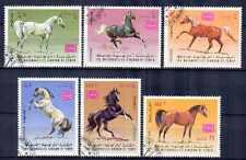 Chevaux Yémen (10) série complète de 5 timbres oblitérés