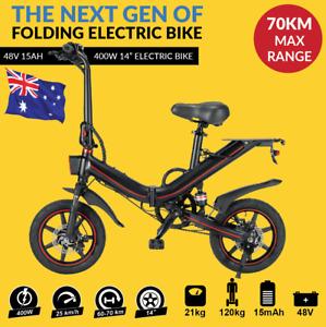 48V 15ah ! Black Folding Electric Bike Bicycle eBike Lithium Battery 400W E-Bike