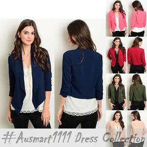 Womens Fashion 3/4 Sleeve Casual Office Slim Blazer Suit Open Front Coat Outwear