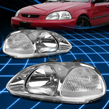 Fit 1996-1998 Honda Civic ek JDM Chrome Housing Clear Corner Headlights Lamp