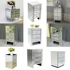 Sparking Mirrored Furniture Glass Bedside Cabinet Table With Drawer Bedroom UK