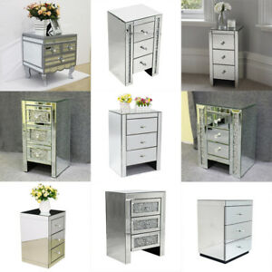 Mirrored Sparkly Bedside Table Modern 3 Drawers Storage Cabinet Nightstand