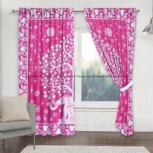 Pink Cotton Elephant Mandala Window Indian Drape Hanging Curtain Set Home Decor@
