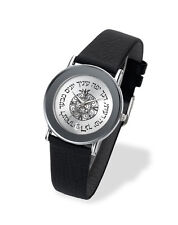 Adi Watches Judaica Hebrew Symbols Alphabet Silver Leather Series 21-0173-181
